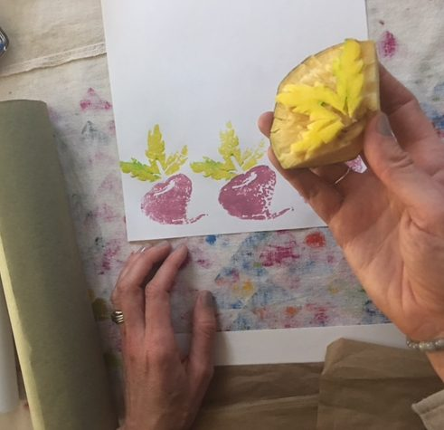 Making Stamp Art - Green greens and pink turnips