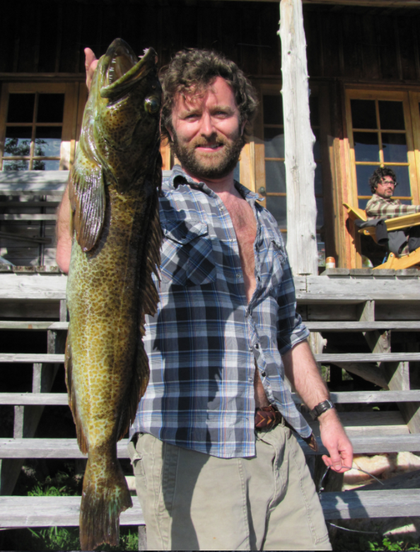 Grant Lawrence with a lingcod