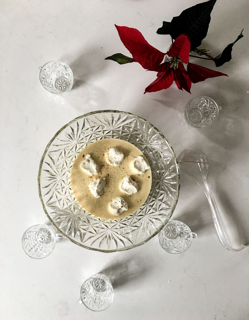 eggnog with whipped cream islands