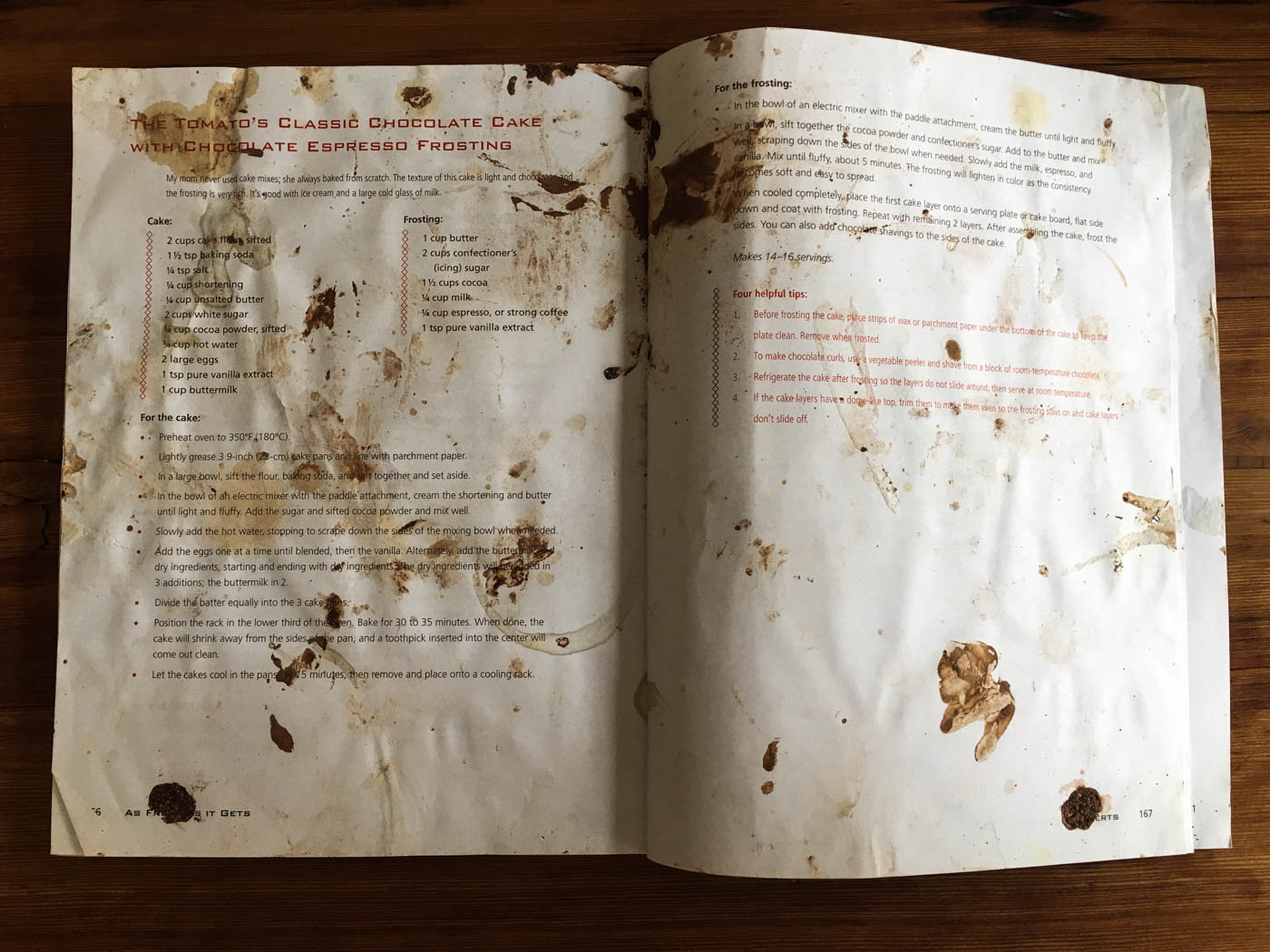 messy cookbook pages