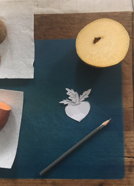 paper cut out for turnip stamp