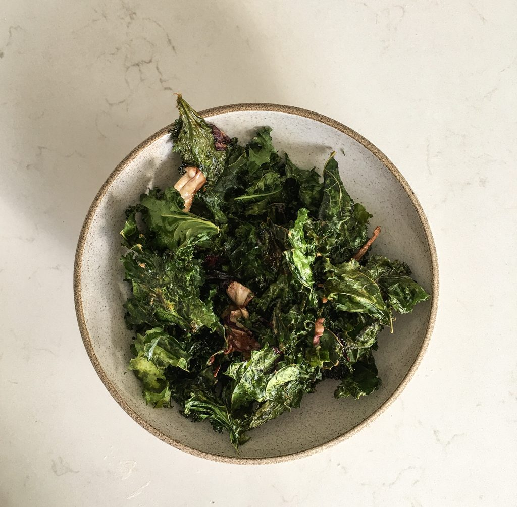 bowl of kale chips with burnt maple butter