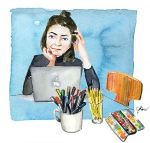 watercolour of Jessie at her desk