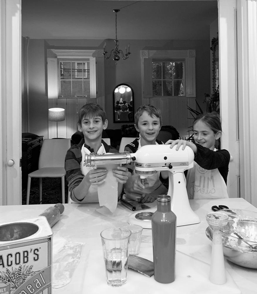 kids making pasta