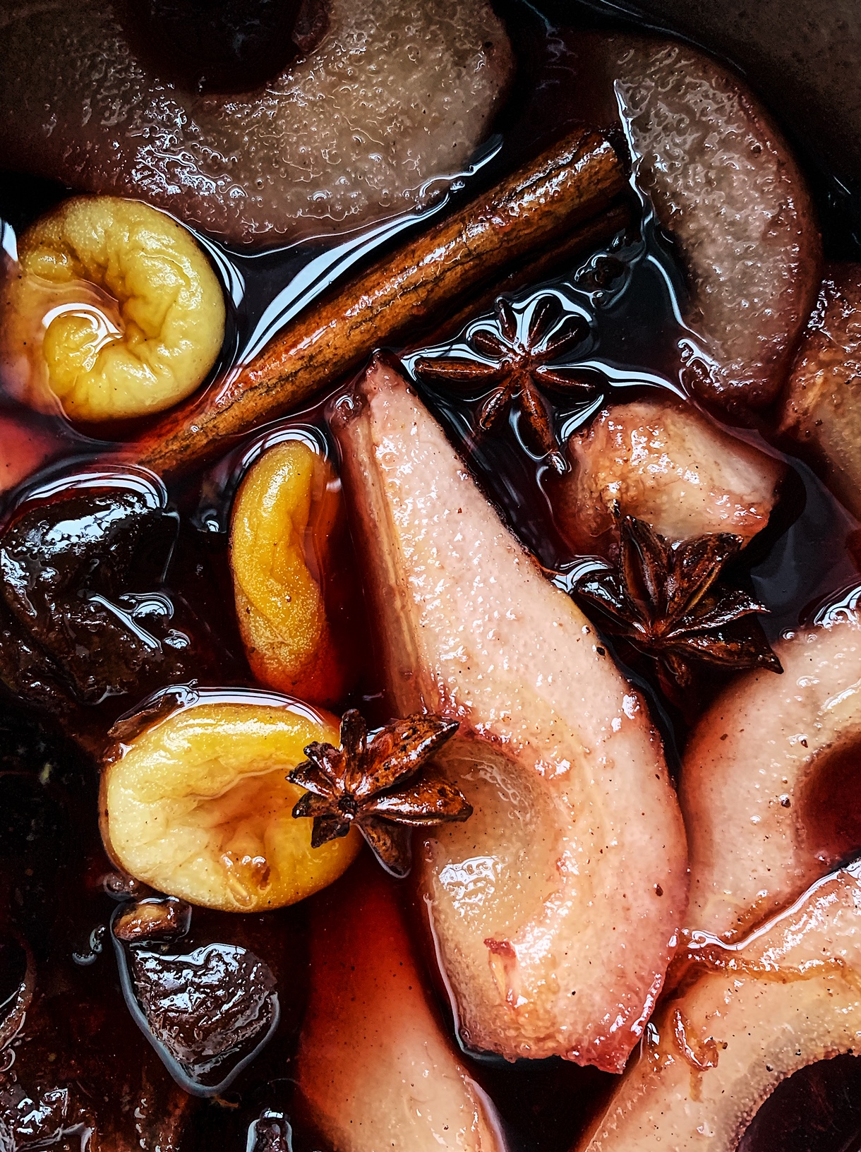Pears, star anise, prunes and apricot compote