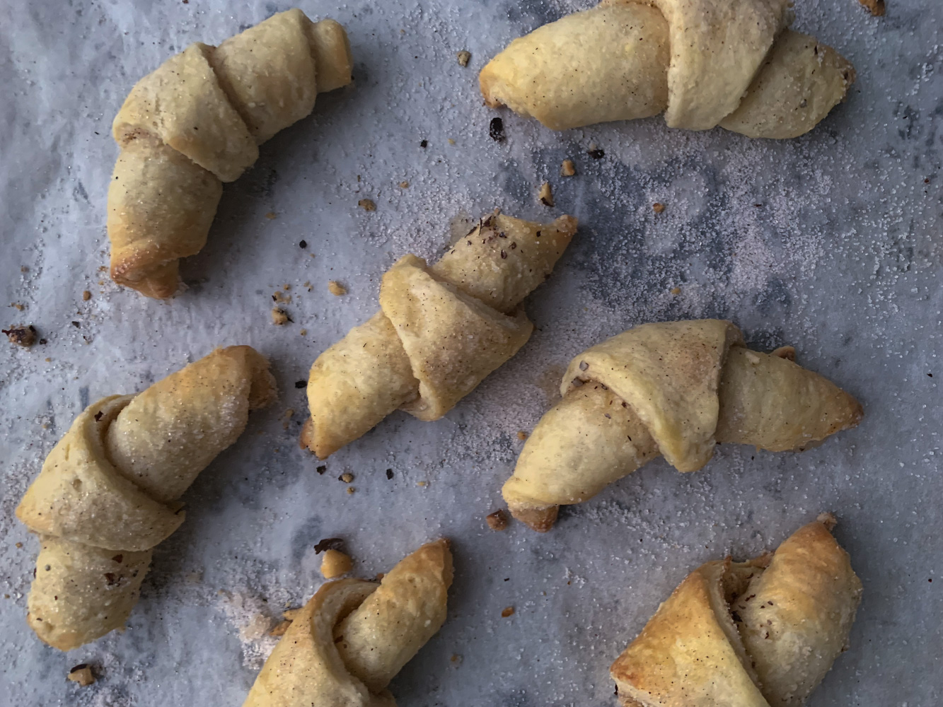 Rugelach rolled cookies with cinnamon and nuts