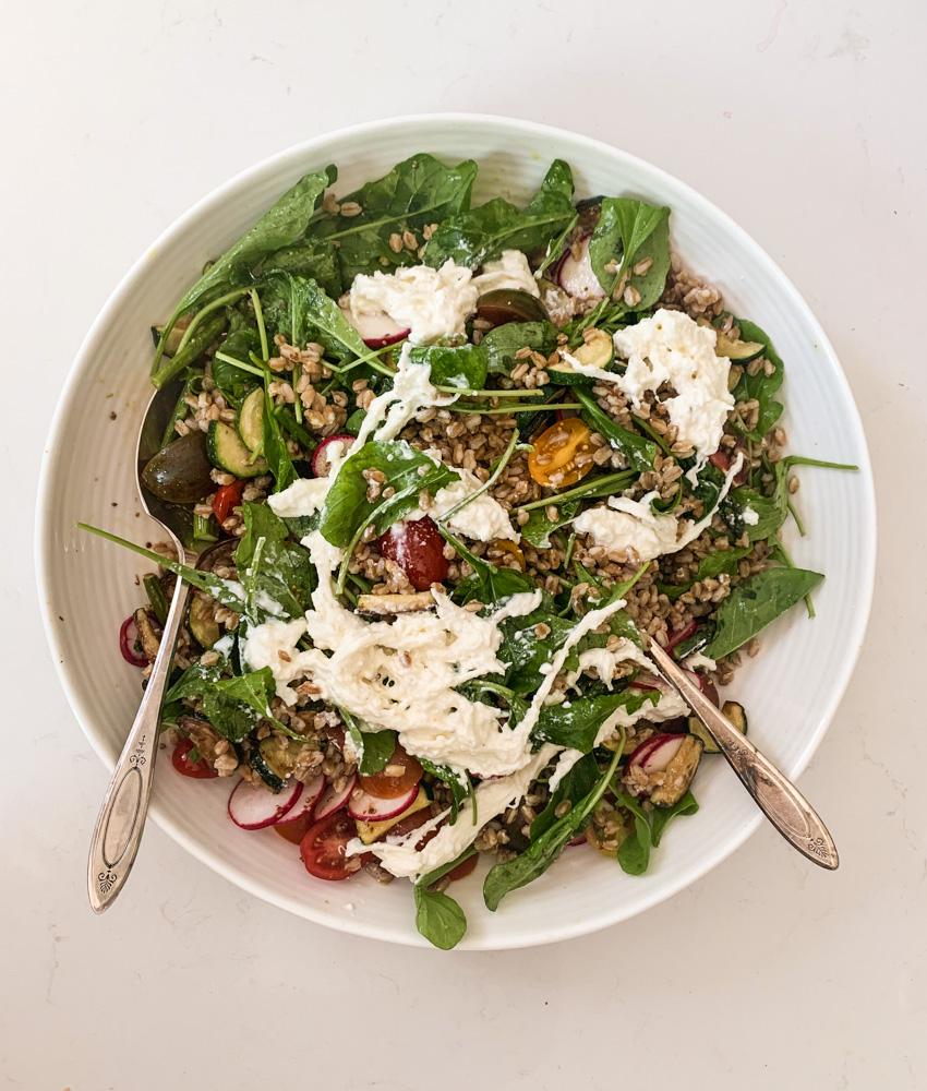 farro salad with stracciatella