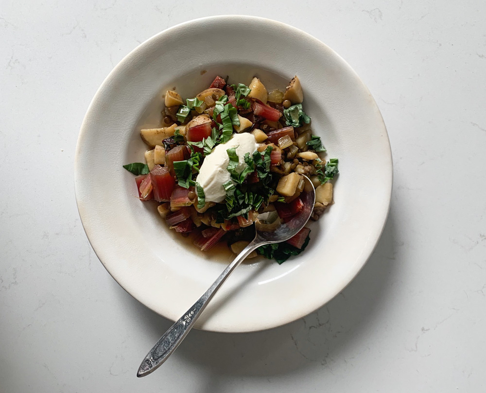 heart lentil soup with swiss chard